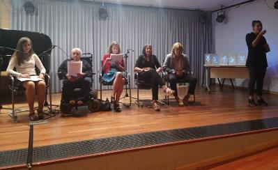 Acto de presentación del libro en el Salón de Actos de la Delegación Territorial de la ONCE en Madrid