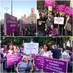 Collage de imágenes de mujeres con discapacidad en la manifestación del 8-M del pasado año