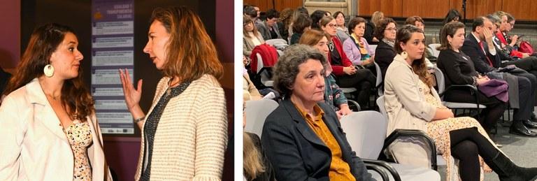 A la izda. Noelia Vera y Patricia Sanz. A la dcha. aforo de asistentes a la jornada, con Noelia Vera en primera fila, durante el discurso de Patricia Sanz