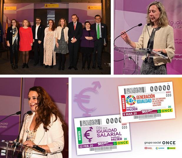 Collage de imágenes de la presentación e inauguración de la jornada en el Ministerio de Igualdad
