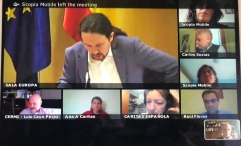 pantallazo de la videoconferencia con el gobierno