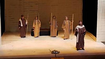 Una escena de Afrodita, representada por el grupo de teatro Antígona