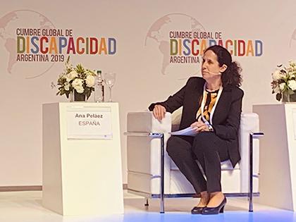 Ana Peláez, en la clausura de la Cumbre Global de la Discapacidad, en Buenos Aires