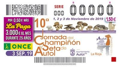 Cupón de la ONCE dedicado a 10 Jornada del Champiñón y la Seta, de Autol 030919