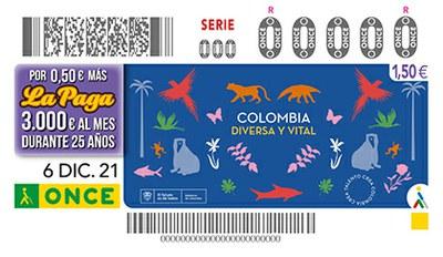 Cupón de la ONCE dedicado a Colombia