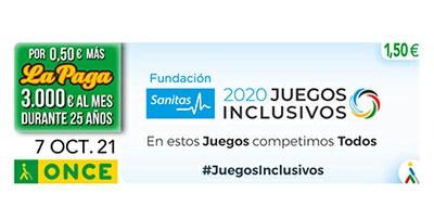 Cupón de la ONCE dedicado a los Juegos Inclusivos