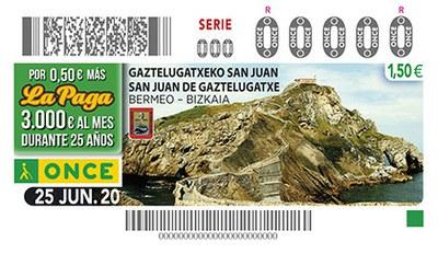 Cupón de la ONCE dedicado a San Juan de Gaztelugatxe