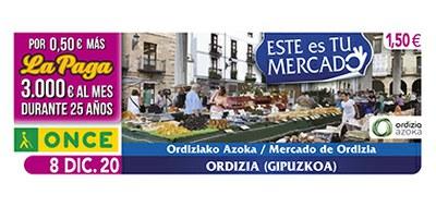 Cupón de la ONCE dedicado al Mercado de Ordizia