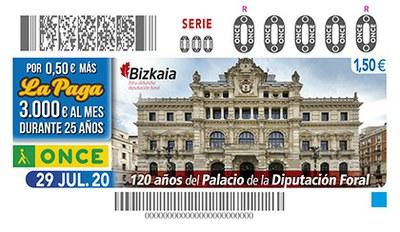 Cupón de la ONCE dedicado al Palacio de la Diputación Foral de Bizkaia