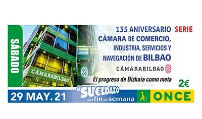 Cupón dedicado al 135 aniversario de la Cámara de Comercio Industria Servicios y Navegación de Bilbao