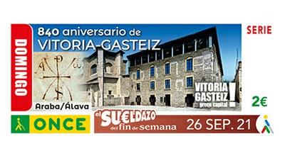 Cupón dedicado al 840 aniversario de Vitoria-Gasteiz.