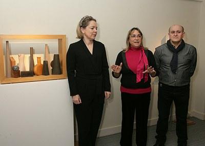 Ana Díaz, Teresa Díaz y Tomás García Redondo, en la inauguración