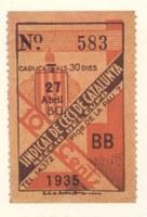 Cupón de 1935 del Sindicat de Cecs de Catalunya