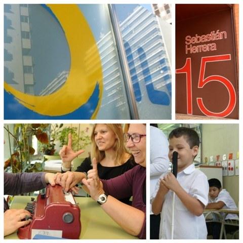 Cuatro imágenes: logo ILUNION, detalle entrada Fundación ONCE, comunicación de personas sordociegas y en El Salvador, niño de corta edad sujetndo el bastón balnco