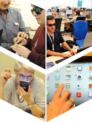 Collage con diferentes ejemplos de accesibilidad a las tecnologías