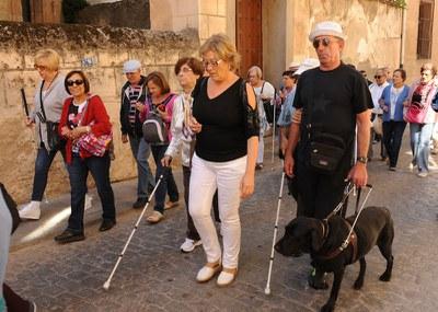 Un grupo de personas ciegas pasea durante una visita cultural