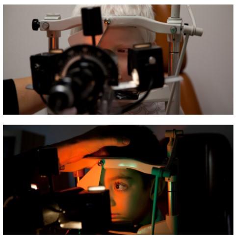 Collage con imágenes de dos niños a los que se les está realizando una revisión ocular