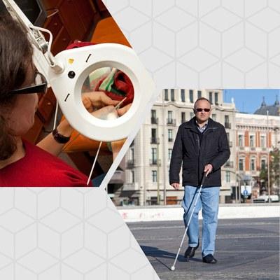 Collage con la imagen de una persona ciega total y otra que utiliza su resto visual