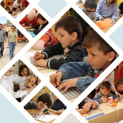 Collage de imágenes de las escuelas de Tirana y Albania para niños y niñas ciegos o con discapacidad visual grave