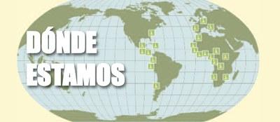 Mapa mundi con los puntos geográficos de actuación del Grupo Social ONCE