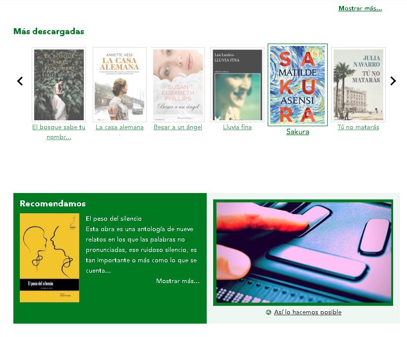 La sección Más Descargados dentro de la web de obtención de obras digitales.