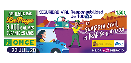 Cupón de la ONCE dedicado a la campaña Seguridad Vial 'Responsabilidad de todos'