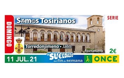 Cupón de la ONCE dedicado al gentilicio tosiriano, de Torredonjimeno