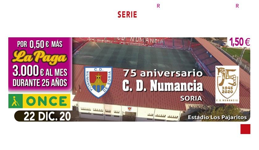 Imagen del cupón dedicado al 75 aniversario del CD Numancia