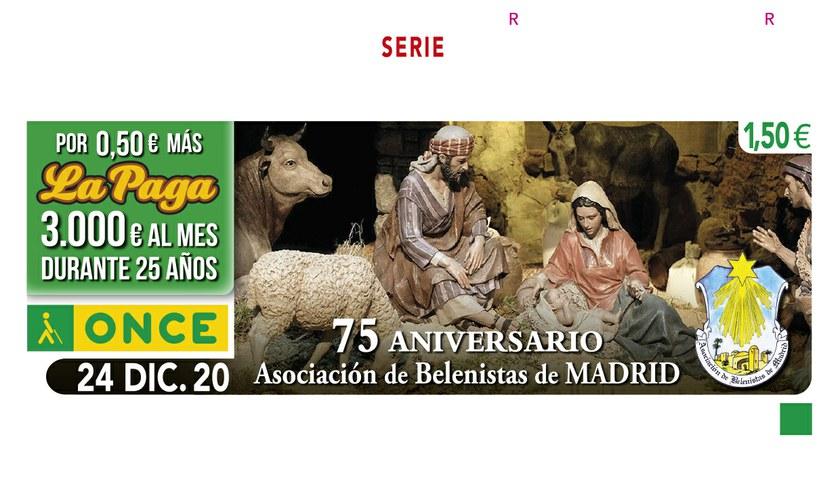 Cupón dedicado a la Aosicación de Belenistas de Madrid