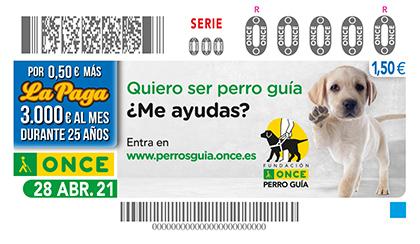 Cupón de la ONCE dedicado al Día Internacional del Perro Guía