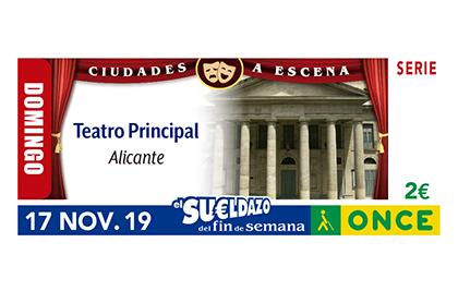 Cupón de la ONCE dedicado al Teatro Principal de Alicante 171119
