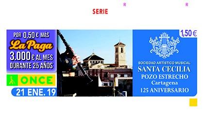 Cupón de la ONCE dedicado al 125 aniversario de la Sociedad Artístico Musical Santa Cecilia, de Pozo Estrecho 210119
