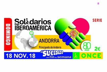Cupón de la ONCE dedicado a Andorra, en la serie Solidarios con Iberoamérica