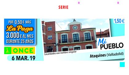 Cupón de la ONCE dedicado a Ataquines (Valladolid)