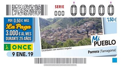 Cupón de la ONCE dedicado a Porrera (Tarragona), en la serie Mi pueblo