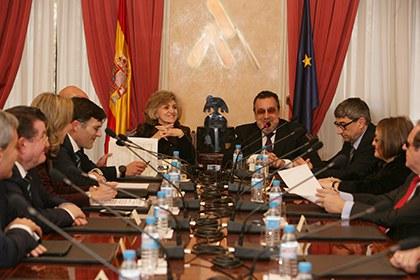La ministra María Luisa Carcedo, en la reunión constitutiva del Consejo General de la ONCE