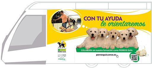 Gráfica del convoy ilustrado con los perros guía de la ONCE
