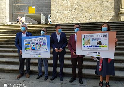 Presentación de cupones dedicados al Día de Galicia y a la accesibilidad del Camino Francés para personas ciegas