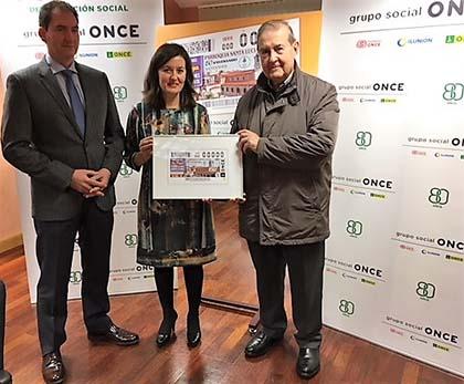 Foto de familia de la presentación del cupón de la ONCE dedicado al 150 aniversario de la Parroquia de Santa Lucia de Santander