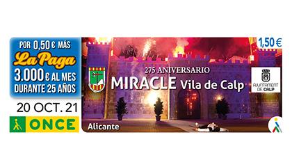 Cupón de la ONCE dedicado al 275 aniversario del Miracle de la Vila de Calp Alicante
