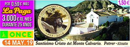 Cupón de la ONCE dedicado al 75 aniversario de la imagen del Cristo del Calvario de Petrer