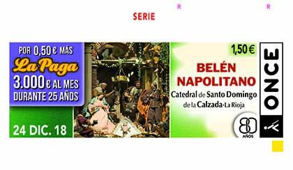 Cupón de la ONCE dedicado al Belén Napolitano de Santo Domingo de la Calzada 241218