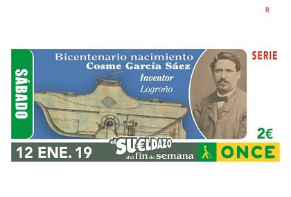 Cupón de la ONCE dedicado al bicentenario del nacimiento del inventor Cosme García Sáez 120119
