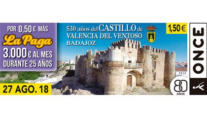 Cupón del 27 de agosto dedicado al Castillo de Valencia de Ventoso (Badajoz)