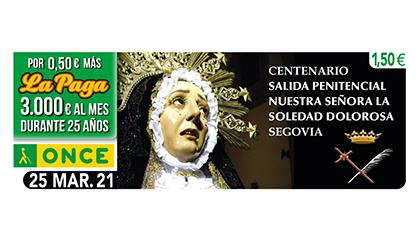 Cupón de la ONCE dedicado a Nuestra Señora de la Soledad Dolorosa, de Segovia