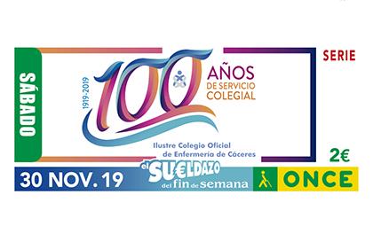 Cupón de la ONCE dedicado al Centenario del Colegio de Enfermería de Cáceres