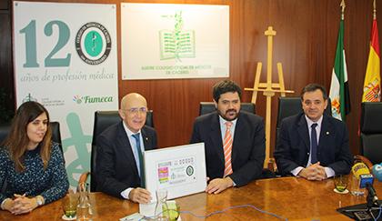 Presentación del cupón dedicado al 120 aniversario del Colegio Oficial de Médicos de Cáceres