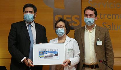 Presentación del cupón dedicado al Complejo Hospitalario Universitario de Badajoz