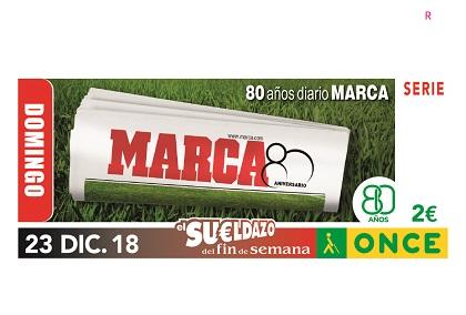 Cupón de la ONCE dedicado al 80 aniversario del diario deportivo MARCA
