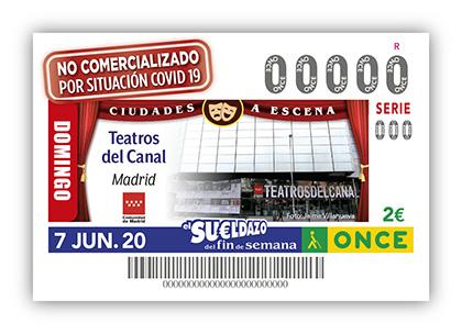 Cupón de la ONCE dedicado a los Teatros del Canal de Madrid no sorteado por Covid19